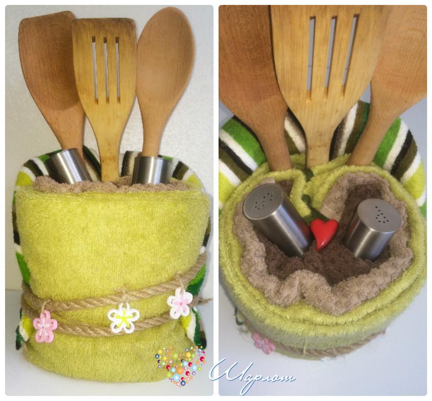 Торт из полотенец и кухонных принадлежностей своими руками